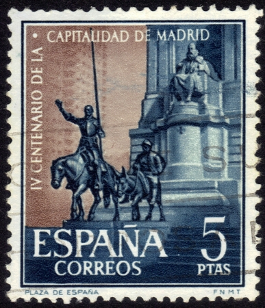 Spain, CIRCA 1961: stamp printed in Spain , showing Cervantes Memorial in Madrid , dedicated 400th Anniv of Madrid as a capital of Spain  , circa 1961 photo