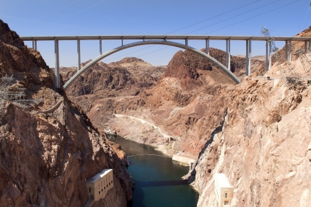 Hoover Dam and Colorado River Bridge, the dam on the Colorado River in Black Canyon, on the border of Arizona and Nevada, USA