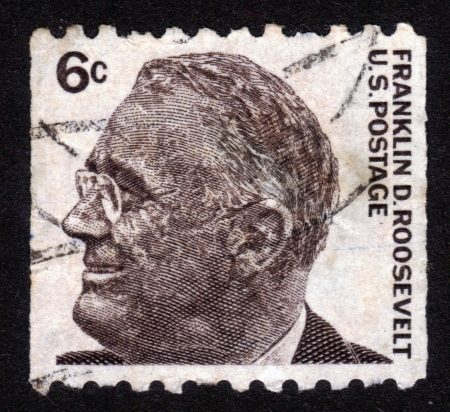 USA - CIRCA 1966  stamp printed in USA , image portrait Franklin Delano Roosevelt  January 30, 1882 - April 12, 1945  was the 32nd President of the United States, circa 1966  Stock Photo - 14136836