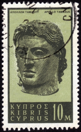 Cyprus - CIRCA 1962  A stamp printed in Cyprus, shows an ancient marble bust of Apollo Tamasus, one of the Olympian gods of ancient Greek, circa 1962