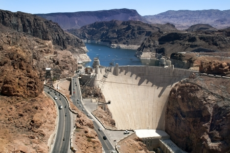 Aerial view of the Colorado River and Hoover Dam, a snapshot taken from a helicopter on the border of Arizona and Nevada, USA Stock Photo