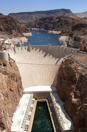 Aerial view of the Colorado River and Hoover Dam, a snapshot taken from a helicopter on the border of Arizona and Nevada, USA Stock Photo - 13964128
