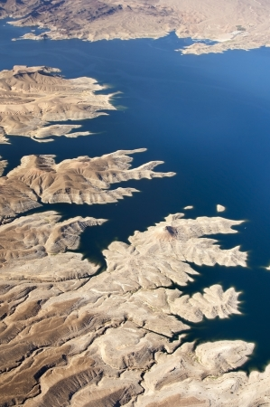 Aerial view of the Colorado River and Lake Mead, a snapshot taken from a helicopter on the border of Arizona and Nevada, USA