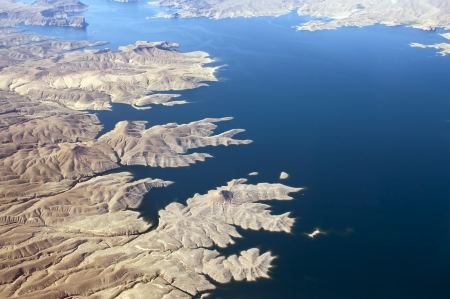 Aerial view of the Colorado River and Lake Mead, a snapshot taken from a helicopter on the border of Arizona and Nevada, USA Stock Photo - 13964121