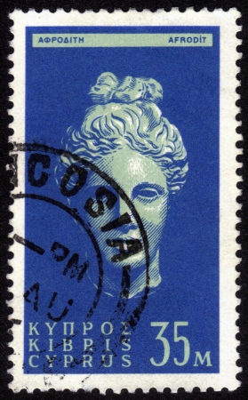 Cyprus - CIRCA 1962: A stamp printed in Cyprus, shows an ancient marble bust of Aphrodite, one of the Olympian gods of ancient Greek, circa 1962