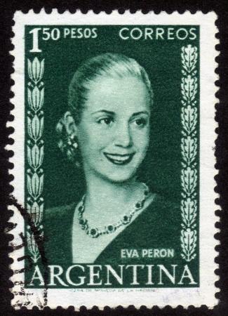 evita: ARGENTINA - CIRCA 1948: A stamp printed in Argentina shows image of a political leader of Argentina, Maria Eva Duarte de Peron, circa 1948