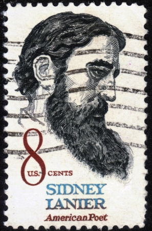 UNITED STATES OF AMERICA - CIRCA 1972: a stamp printed in the United States of America shows Sidney Lanier ( 1842-1881 ) American poet, circa 1972 Stock Photo - 14136850