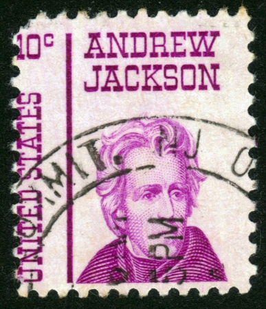 UNITED STATES OF AMERICA - CIRCA 1967: a stamp printed in the United States of America shows Andrew Jackson, 7th President of USA 1829-1837, circa 1967 Stock Photo - 14136841