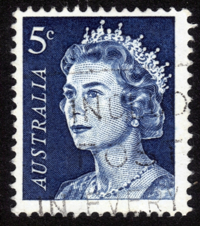 AUSTRALIA - CIRCA 1960: A stamp printed in Australia shows Queen Elizabeth II, circa 1960 Stock Photo - 14136840