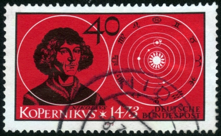 copernicus: GERMANY - CIRCA 1973: a stamp printed in the Germany shows Nicolaus Copernicus, Renaissance Astronomer, circa 1973