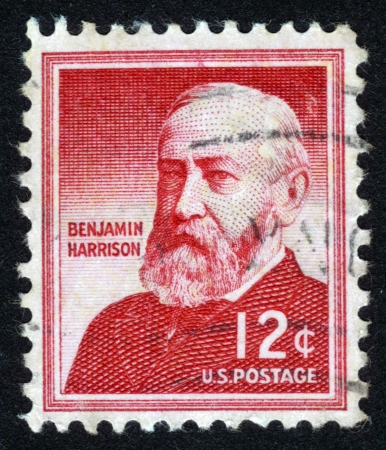 united states postal service: UNITED STATES - CIRCA 1954: A stamp printed in the United States, shows portrait of Benjamin Harrison (1833-1901) was the 23rd President of the United States, circa 1954
