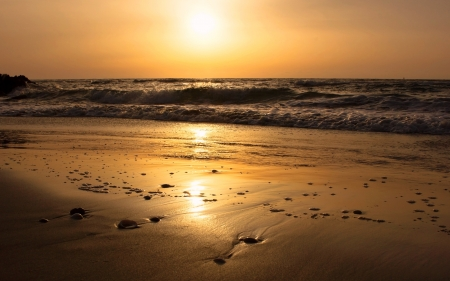 golden sunset on the shores of the Mediterranean Sea Stock Photo