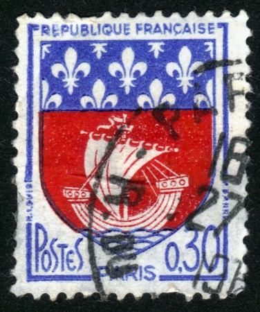 FRANCE - CIRCA 1965: A stamp printed in France, depicts Arms of Paris,  the capital and largest city of France , circa 1965 Stock Photo - 14046500