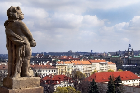 stone statue of a man on a background of medieval of Prague, Czech Republic Stock Photo - 14046519