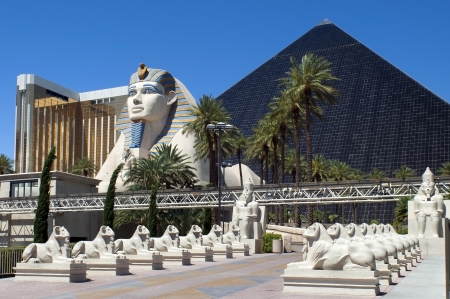 Las Vegas, Nevada - Luxor Hotel and Casino; built in 1993, has the form of an Egyptian pyramid at the entrance stands a large statue of the Sphinx Editorial