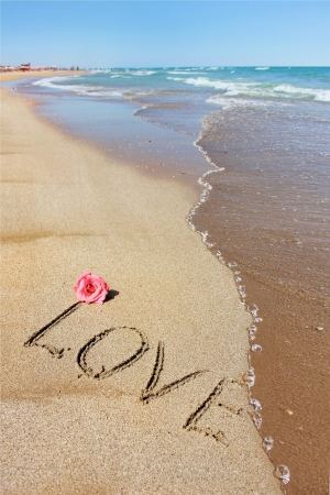 Inscription love on the wet sand of the sea, beach in a quiet cove of the Mediterranean Sea and  flower of  rose