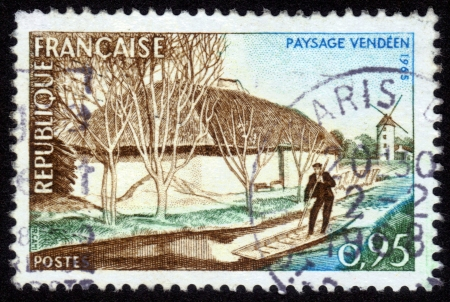 FRANCE - CIRCA 1965: A stamp printed in France, shows Vende landscape by Robert Cami, the department in western France, series, circa 1965 photo