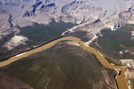 view from the helicopter to the great Colorado River , Nevada, United States photo