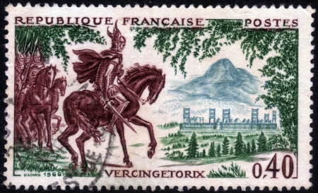 FRANCE - CIRCA 1966  A stamp printed in France, shows Vercingetorix, the leader of the ancient Gauls in the war against Caesar and the Romans, series, circa 1966 Stock Photo - 14147238