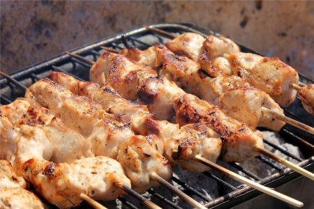 Barbecue with delicious grilled meat on grill Stock Photo - 14126189