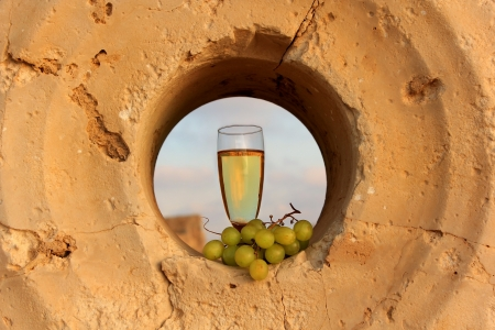 a glass of white wine and a bunch of grapes inside the a millstone for the pomace of grape juice Stock Photo - 14126195