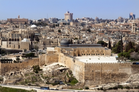 view of the old city and the Temple Mount, Jerusalem, Holy Land photo