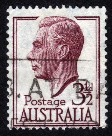 AUSTRALIA - CIRCA 1951: A stamp printed in AUSTRALIA showing a portrait of King George VI, circa 1951 Stock Photo - 14147240