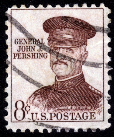 pershing: USA - CIRCA 1960: stamp printed in the USA shows general John J. Pershing,  officer in U.S. Army who led American Expeditionary Forces in World War I, circa 1960 Editorial