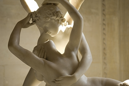 amore: marble sculpture Cupid and Psyche by Antonio Canova, shows moment of awakening Psyche from the kiss of the god Cupid .1787 Louvre Paris