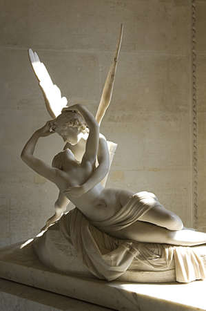 marble sculpture Cupid and Psyche by Antonio Canova, shows moment of awakening Psyche from the kiss of the god Cupid .1787 Louvre Paris