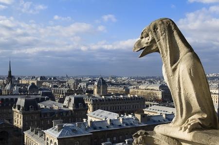 stone guards - chimere of Notre-Dame overlooking Paris  Notre Dame de Paris, Paris, Europe Stock Photo