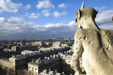 stone guards - chimere of Notre-Dame overlooking Paris  Notre Dame de Paris, Paris, Europe Stock Photo