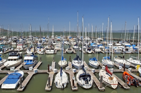 yachts docked in the port of San Francisco, USA
