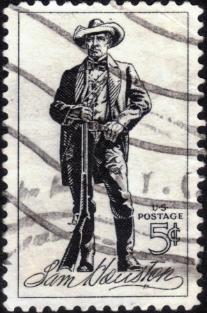 UNITED STATES - CIRCA 1964 : A stamp printed in United States. Sam Houston (1793-1863) was a soldier and first President of the Republic of Texas. United States - CIRCA 1964 Stock Photo - 14147866