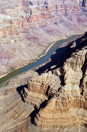 view from the helicopter to the Grand Canyon and Colorado River, Arizona, United States Stock Photo - 14132454