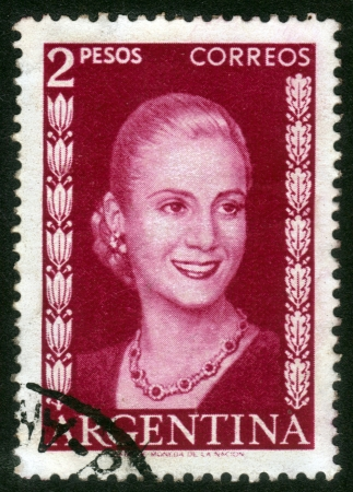 ARGENTINA - CIRCA 1948  A stamp printed in Argentina shows image of a political leader of Argentina, Maria Eva Duarte de Peron, circa 1948 Editorial