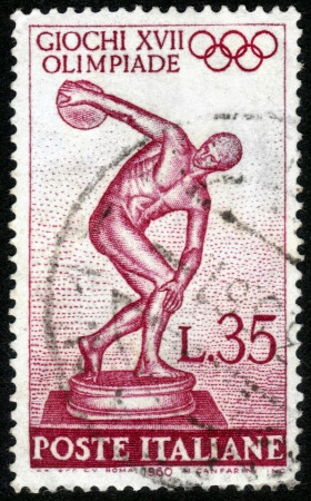 ITALY - CIRCA 1960  A stamp printed in Italy, shows image of Myron s Discobolus , devoted to 17th Olympic Games, Rome, Italy , circa 1960