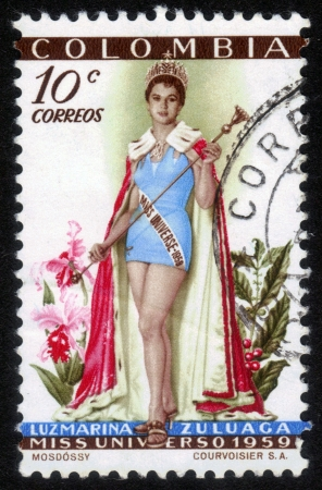 COLOMBIA - CIRCA 1959  A stamp printed in Colombia shows image of Luz Marina Zuluaga from Colombia ,  Miss Universe 1959,  circa 1959