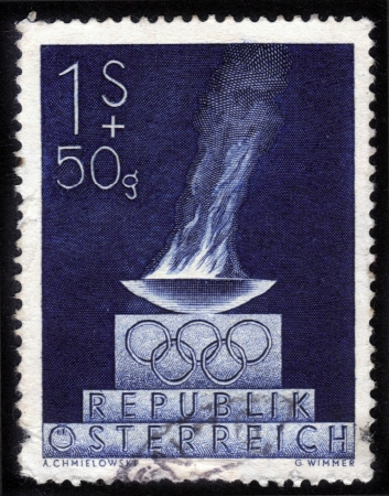 AUSTRIA - CIRCA 1948  A stamp printed in Austria shows a bowl with the Olympic flame, dedicated to the V Olympic Winter Games in St  Moritz, Switzerland in 1948, circa 1948 Stock Photo - 14147899