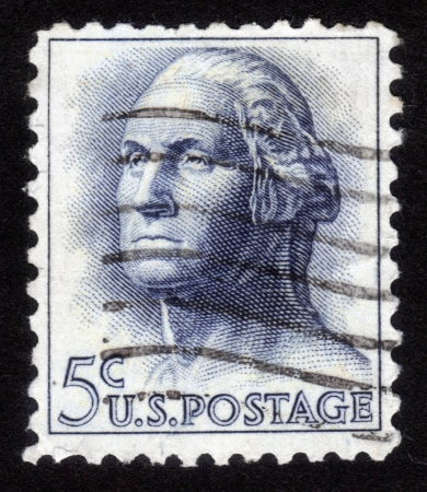 USA - CIRCA 1962: A stamp printed in USA shows image portrait George Washington (1732-1799), the first president of USA, circa 1962 Stock Photo - 14147887