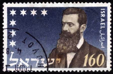 zionism: ISRAEL - CIRCA 1972:  stamp printed in Israel , shows portrait Theodor Herzl  Dr. Benjamin Zeev Herzl  of the father of modern political Zionism , issued in honor of the 28th Zionist Congress , series, circa 1972