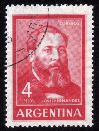 ARGENTINA - CIRCA 1967: A stamp printed in Argentina shows Jose Hernandez was an Argentine journalist, poet, and politician best known as the author of the epic poem Mart�n Fierro, circa 1967