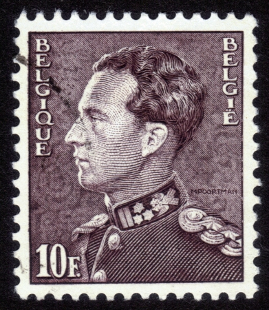 BELGIUM - CIRCA 1951: A stamp printed in Belgium, shows portrait of Leopold III King of Belgium, circa 1951 Stock Photo - 14242381