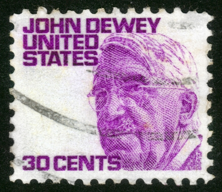 dewey: USA - CIRCA 1965: A stamp printed in USA from the Prominent Americans (1st series) issue shows philosopher John Dewey, circa 1965. Editorial