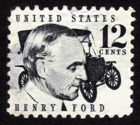 USA - CIRCA 1970: A stamp shows image portrait Henry Ford (1863 - 1947) and car Ford Model T was a prominent American industrialist, the founder of the Ford Motor Company, circa 1970. Stock Photo - 14242379