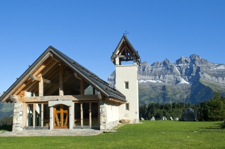 beautiful little chapel in the mountains of Switzerland Stock Photo - 14264297