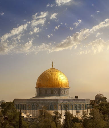 view of the golden Dome of the Rock of Al Aqsa Mosque from the Mount of Olives.Jerusalem, Israel Stock Photo - 14264295
