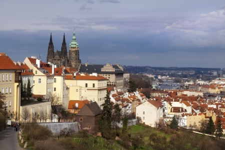 view of old Prague, St. Vitus Cathedral and the River Vltava Stock Photo - 14264300