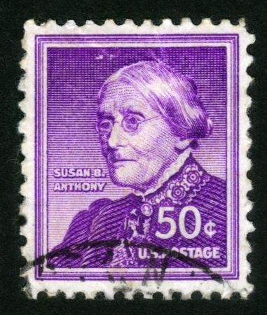 USA - CIRCA 1955: A stamp printed in USA shows portrait of Susan Brownell Anthony (February 15, 1820 - March 13, 1906), a fighter for the rights of women, circa 1955 Stock Photo - 14264296