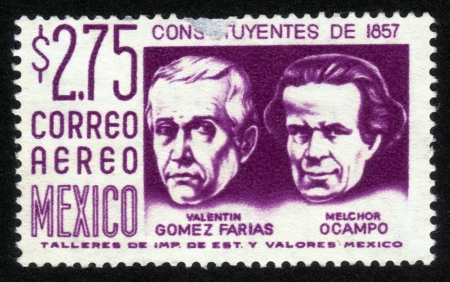 melchor: MEXICO - CIRCA 1963: A stamp printed in MEXICO shows portrait of Valentin Gomez Farias, 33rd President of Mexico and Melchor Ocampo, Mexican lawyer, scientist and liberal politician., Circa 1963